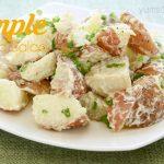 My potato salad is super-easy, and incredibly quick to make. No messing around peeling the potatoes; simply wash 'em, chop 'em, boil 'em, and dress 'em! | yumsome.com