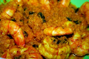 Prawns after initial frying