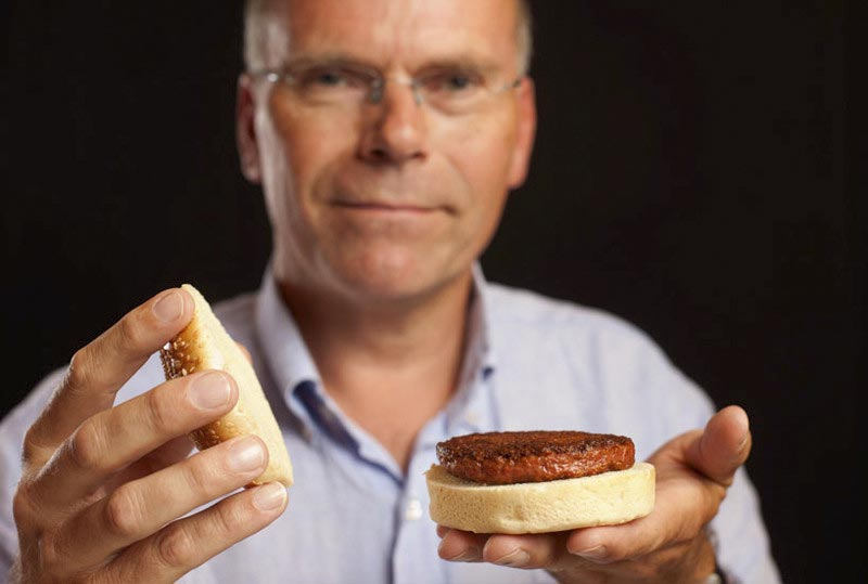 Professor Mark Post with his lab-grown burger