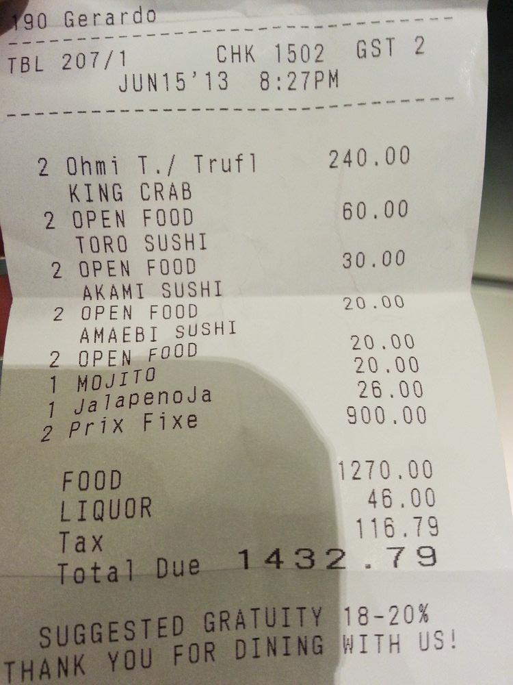 Masa dining bill