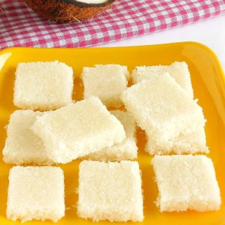 My vegan coconut burfi is super-easy to make but do be warned though, it's incredibly more-ish! | yumsome.com