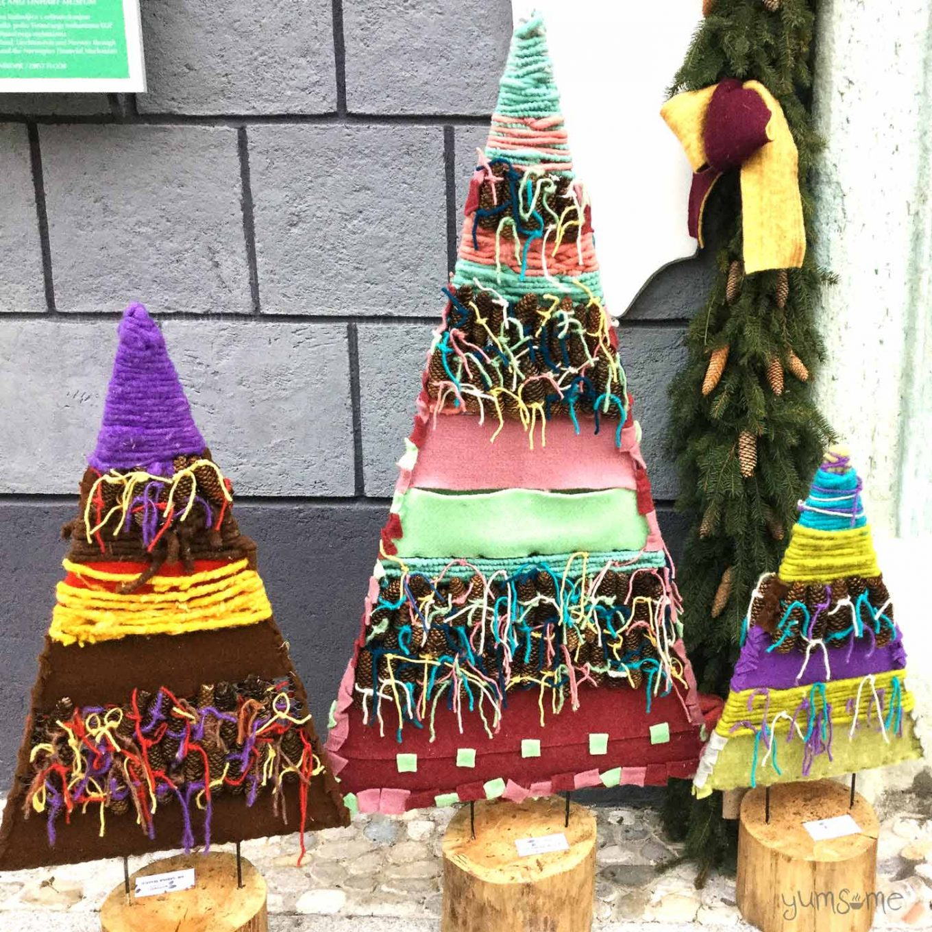 I love these textile Christmas trees in Radovljica! | yumsome.com