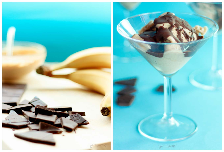 bananas, chocolate, and banana and peanut butter ice cream | yumsome.com
