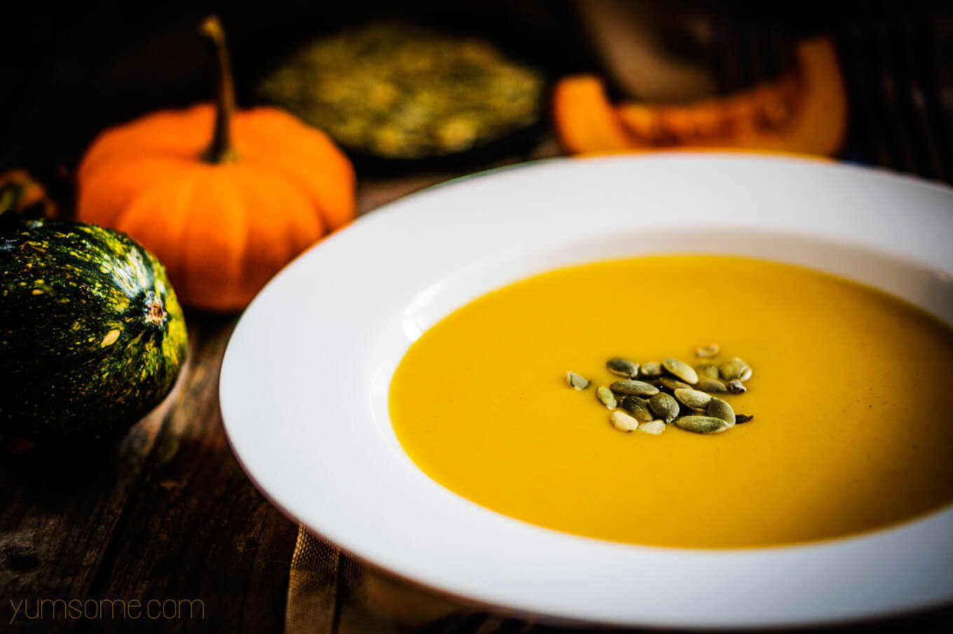 My delicious, vegan, hearty use-it-up pumpkin soup is what cool weather is all about. Brimming with vegetables, it makes a wonderfully filling and warming meal. | yumsome.com