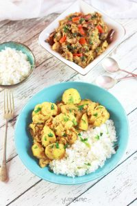 This simple vegan aloo gobi masala is a delicious mildly-spiced north Indian dish, made with potato and cauliflower, and can be served dry, or with a gravy. | yumsome.com