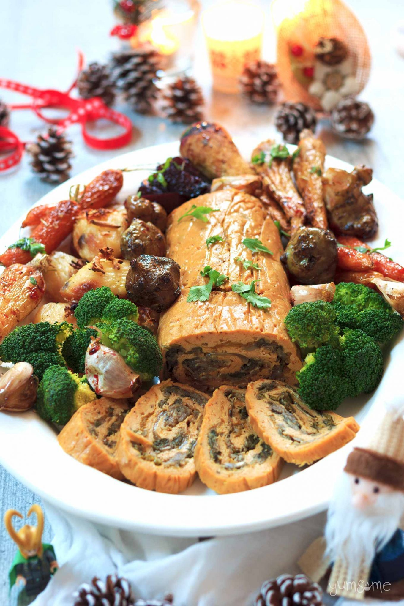 Vegan stuffed seitan roast with all the trimmings, plus some festive decorations.