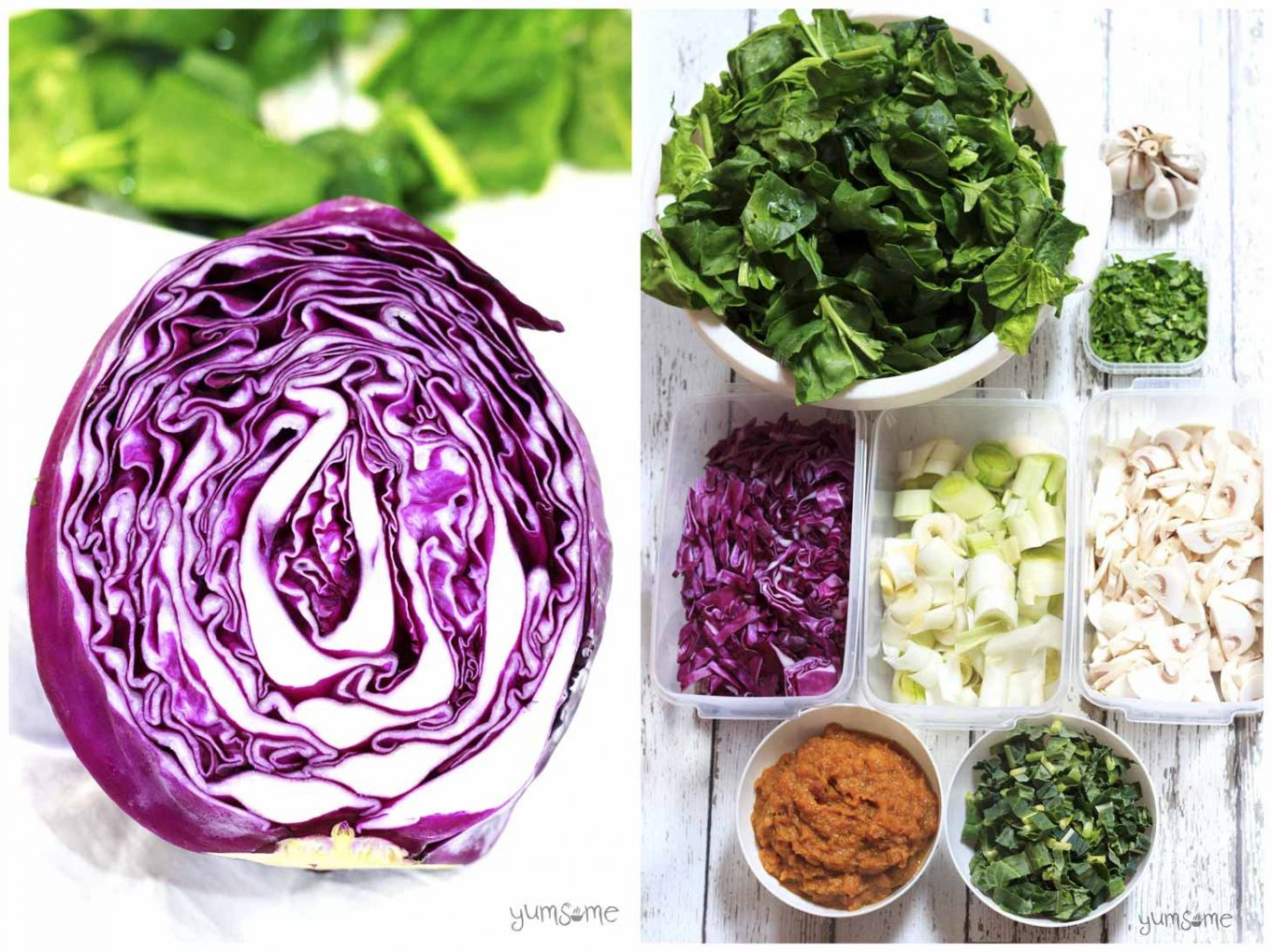 A red cabbage, plus various other ingredients for making vegan red cabbage stuffing.
