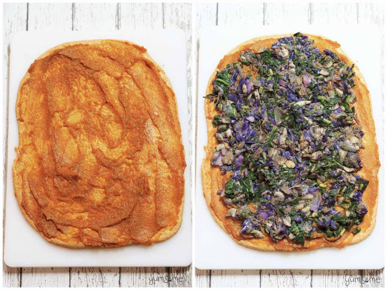 Two images of rolled out seitan dough, covered with pumpkin puree and red cabbage stuffing.