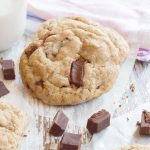 With just a handful of basic ingredients, my foolproof vegan choc chunk cookies are soft, moist, and deliciously chewy - everything a cookie should be! | yumsome.com