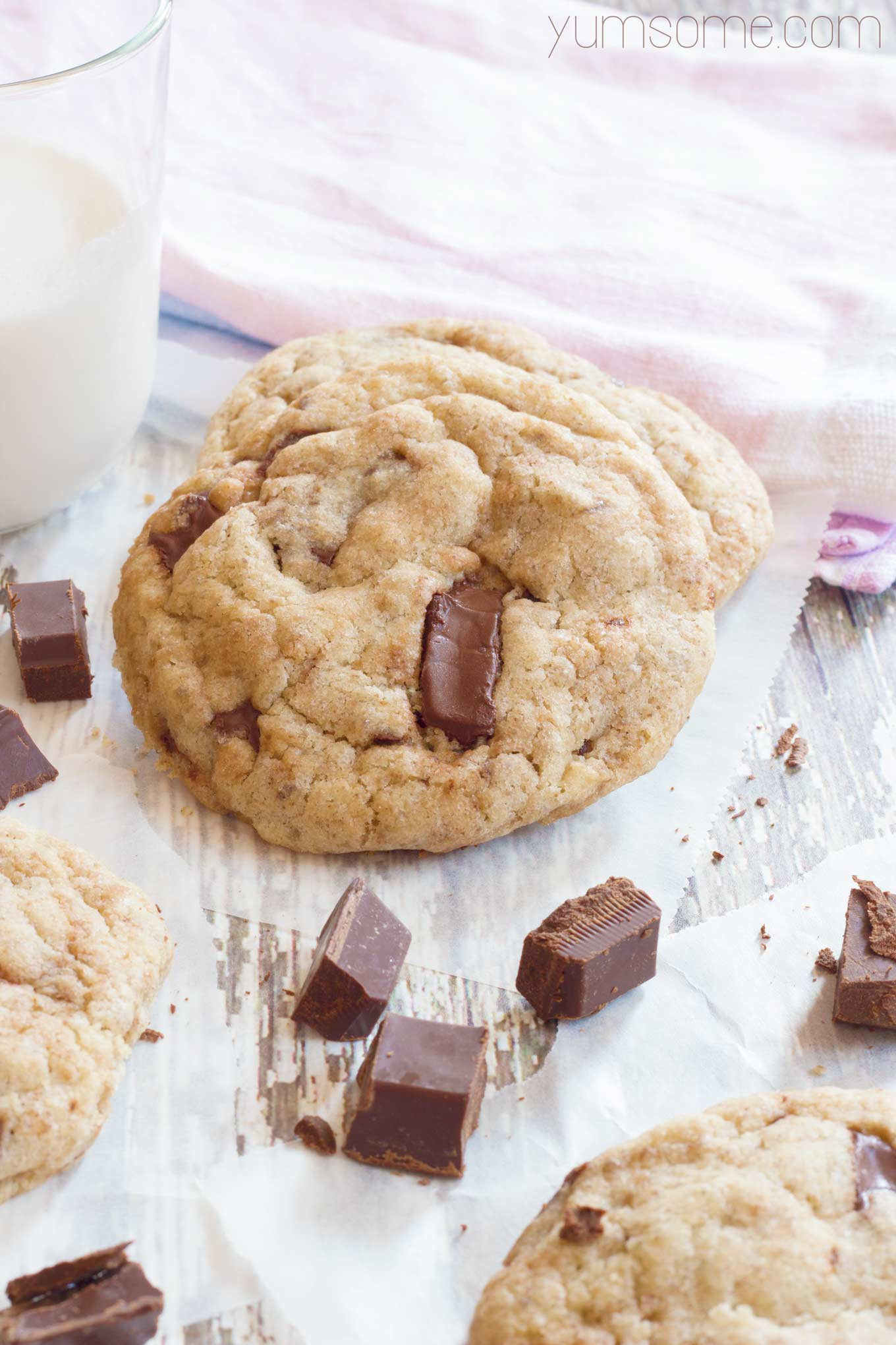 vegan choc chunk cookies with a glass of almond milk | yumsome.com