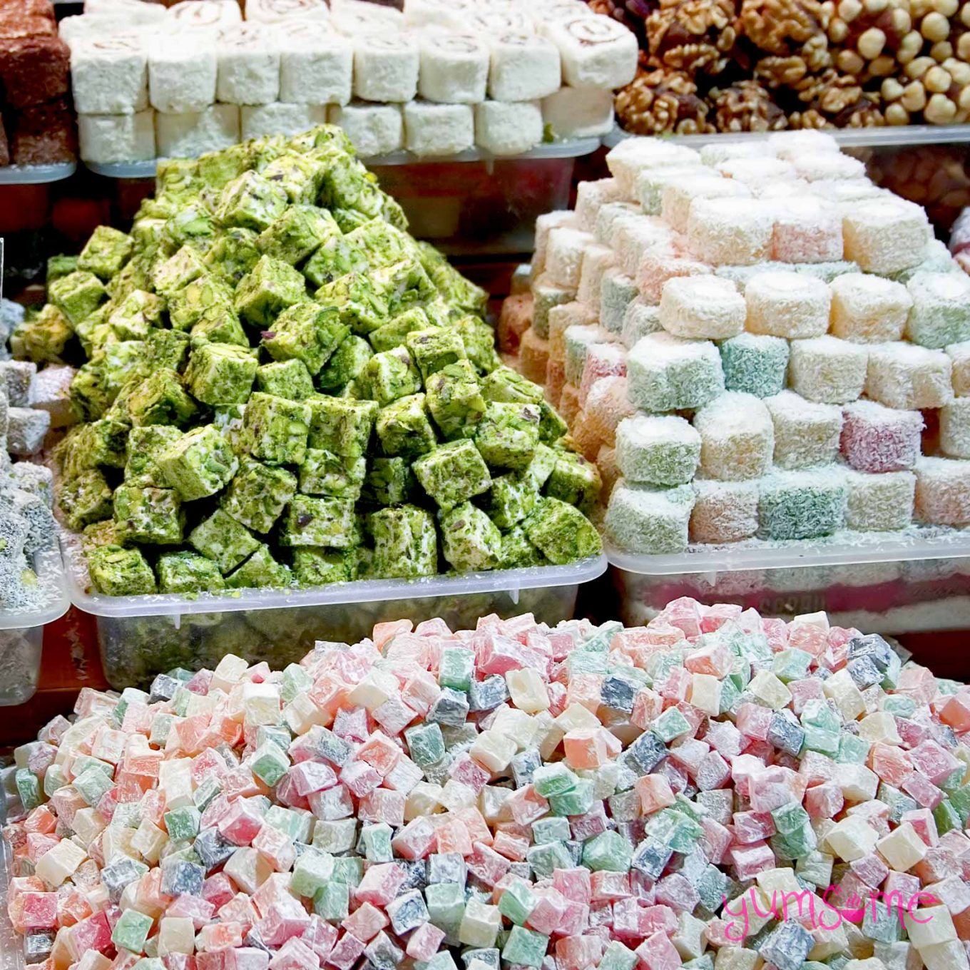Piles of various flavoured lokum at a market in Turkey.