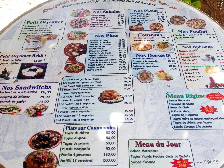 restaurant bab el kasbah menu | yumsome.com