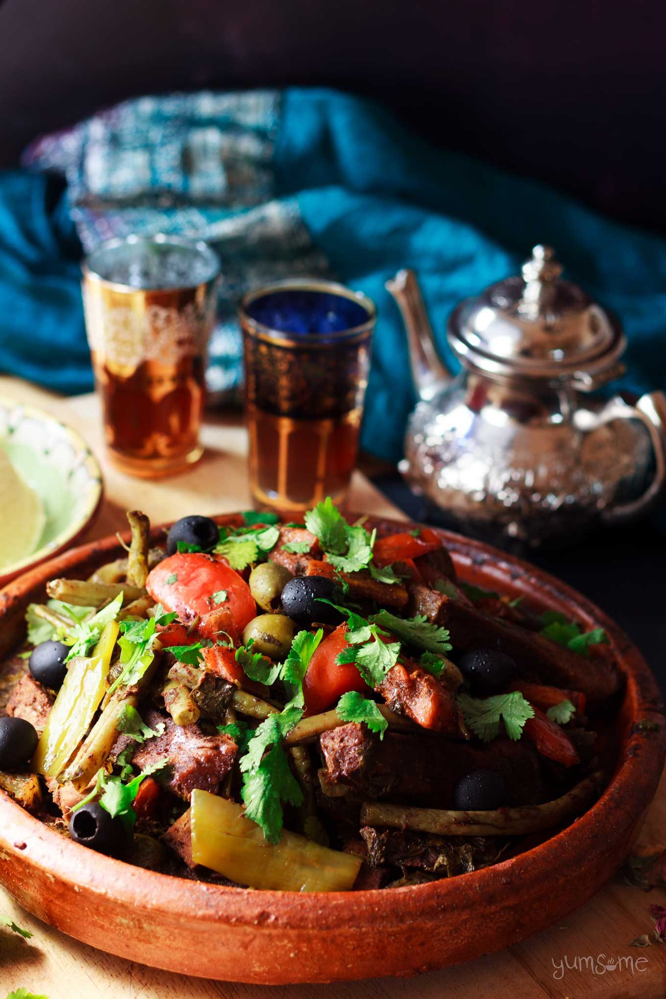 A large moroccan vegetable tagine.