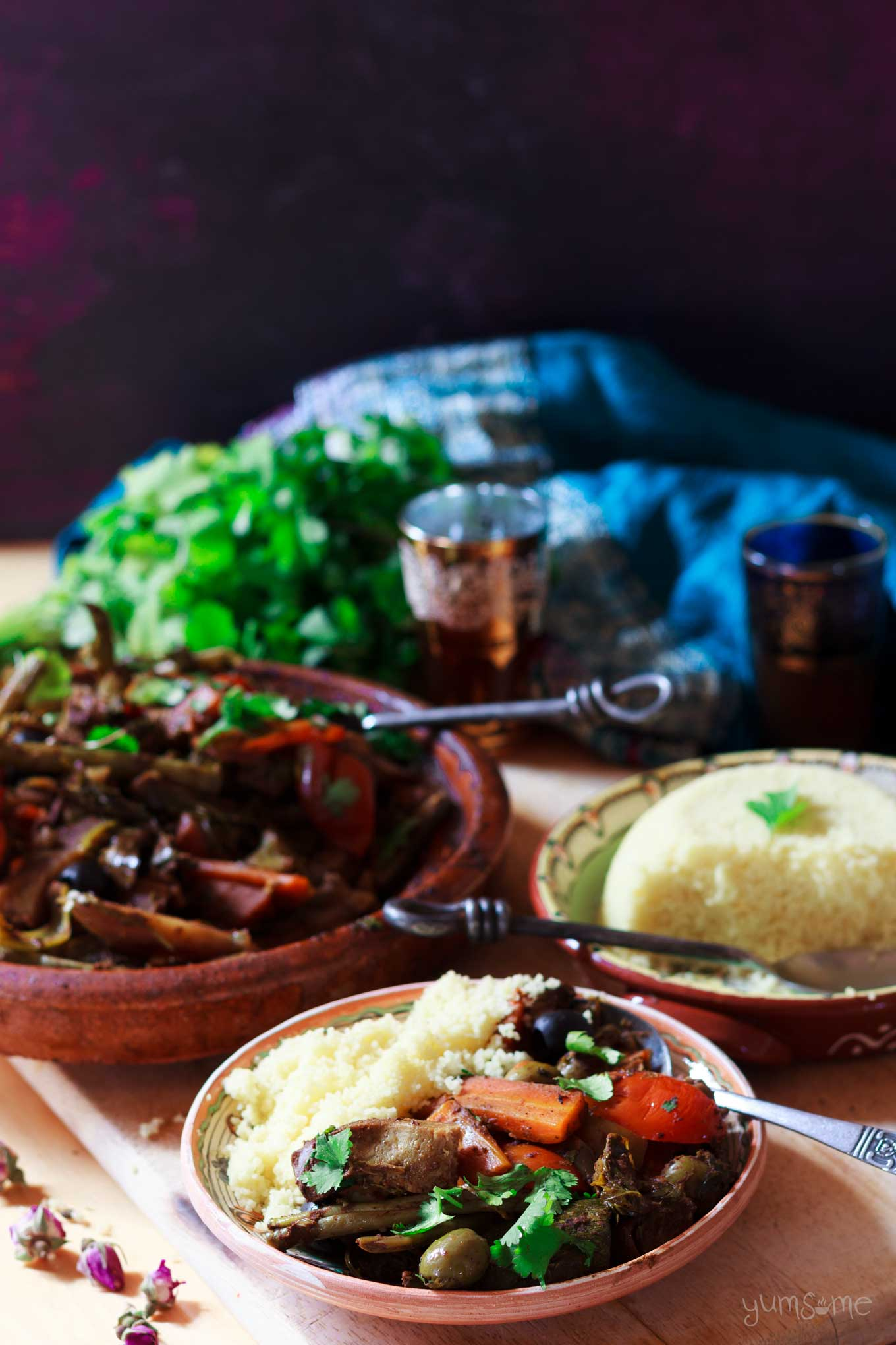 a plate of moroccan vegetable tagine with couscous | yumsome.com