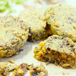 Tahini and squash add moistness and flavour to these chickpea burgers, while the polenta gives them a lovely, crispy coating. | yumsome.com