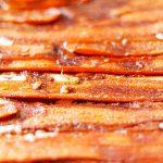 closeup of some vegan carrot bacon | yumsome.com