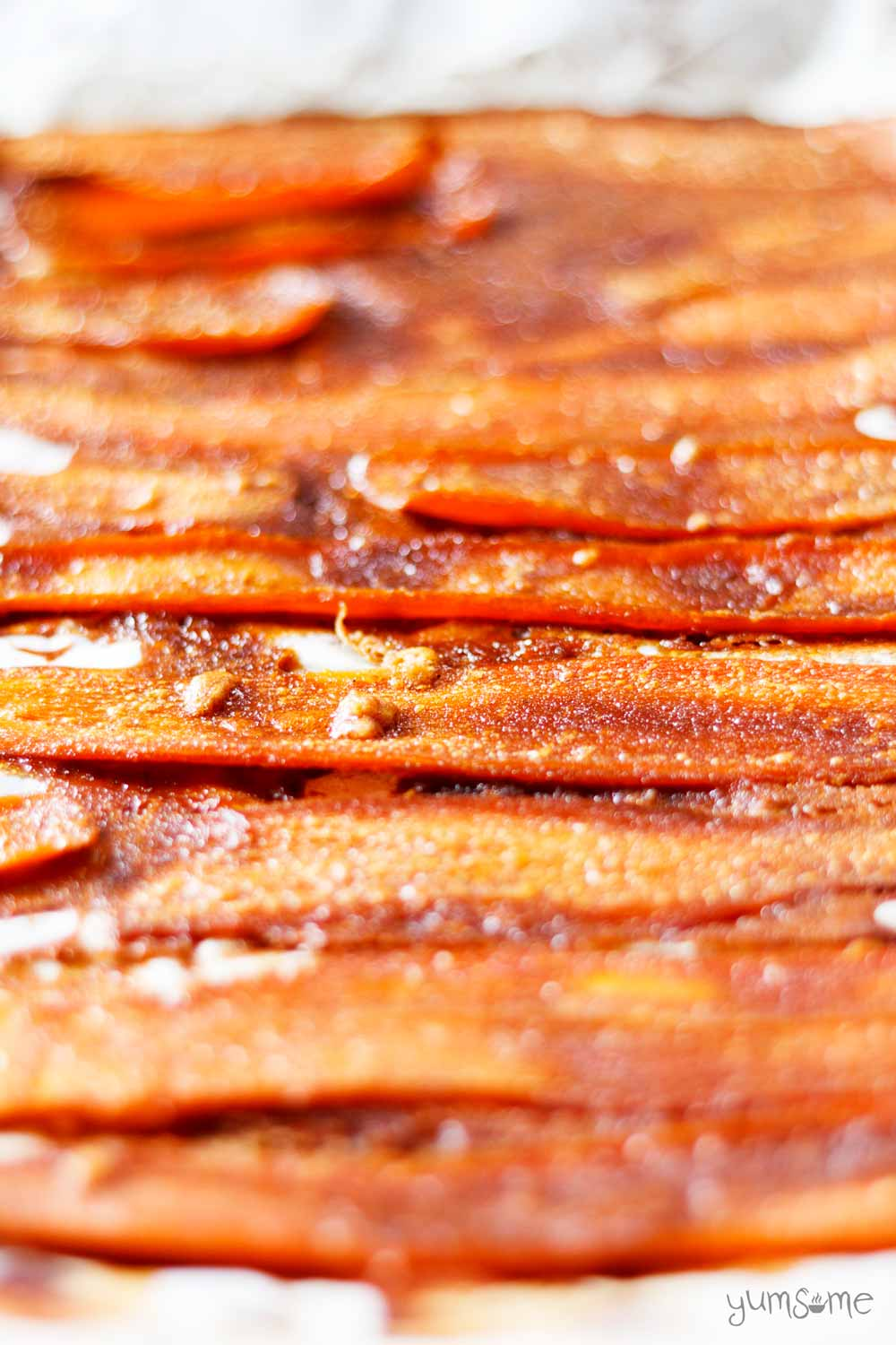 closeup of some vegan carrot bacon | yumsome.com