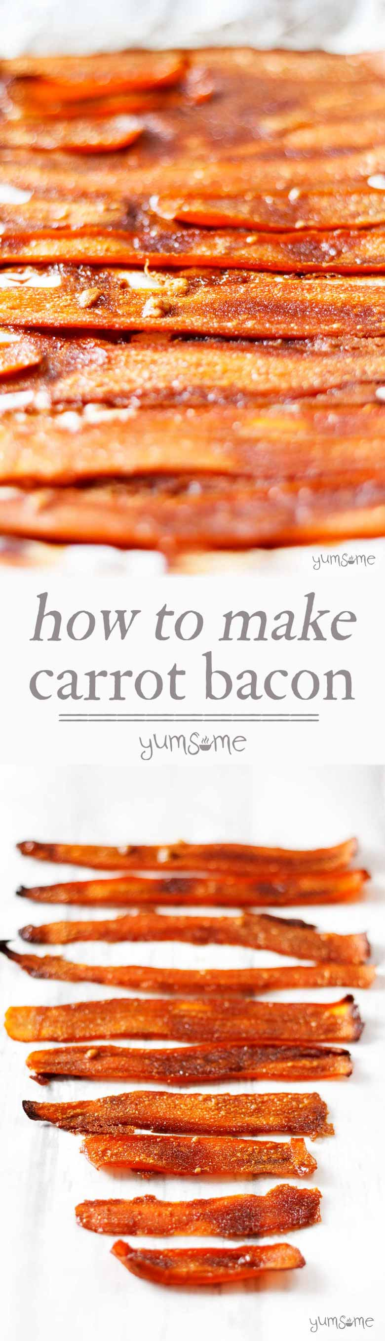 #Salty and sweetly #smoky, this delicious, easy-to-make #vegan #bacon substitute is made from #carrots and just five other basic store cupboard ingredients. | yumsome.com