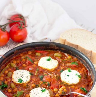 Ready in 30 mins, my smoky, spicy vegan chickpea shakshuka is perfect for brunch or supper, and is chock-full of vitamins, protein, and fibre. | yumsome.com