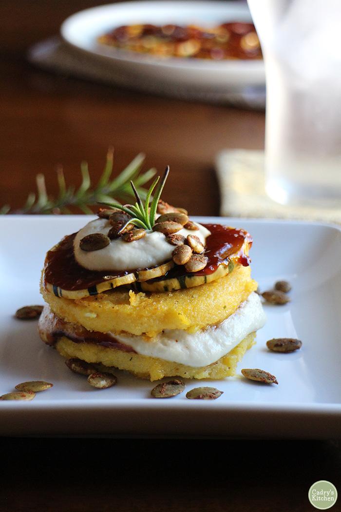 Polenta stacks with BBQ squash & cashew cream | cadryskitchen.com