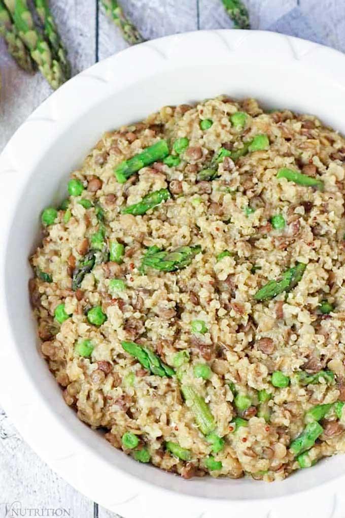 Lentil quinoa with asparagus and peas | vnutritionandwellness.com