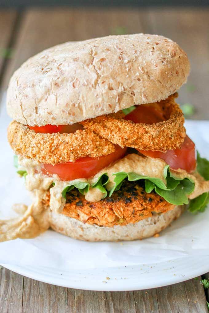 Buffalo Chickpea Burger | veggiesdontbite.com