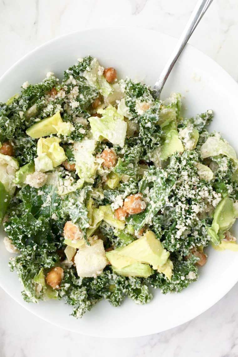 kale avocado caesar salad | peacemeal-xo.com