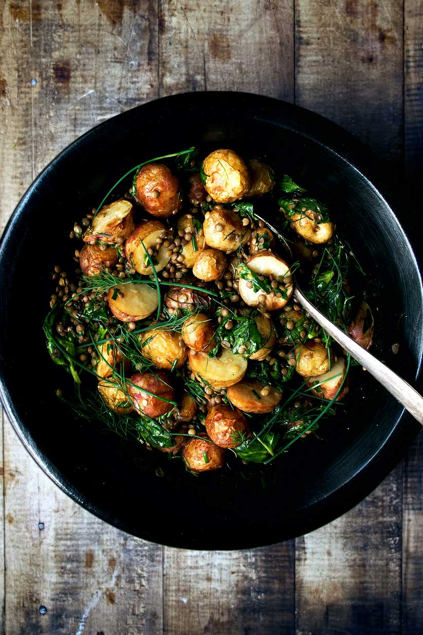 roasted new potato salad with lentil and herb dressing | occasionallyeggs.com