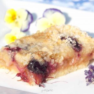 rhubarb crumble shortbread bars - hero shot | yumsome.com