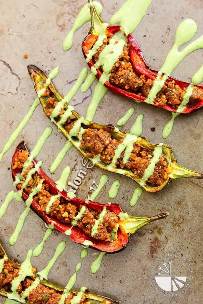 stuffed anaheim peppers with walnut crumble