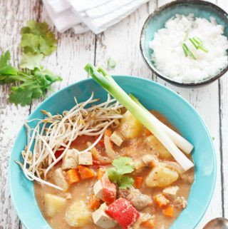 overhead shot of vegan Thai massaman curry   yumsome.com