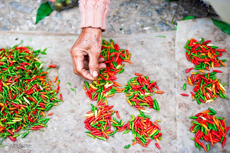 Lao chilli seller at Luang Prabang market | yumsome.com