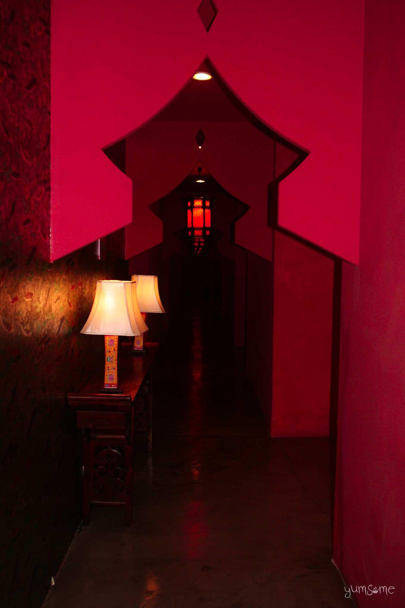 red corridor in Shanghai Mansion