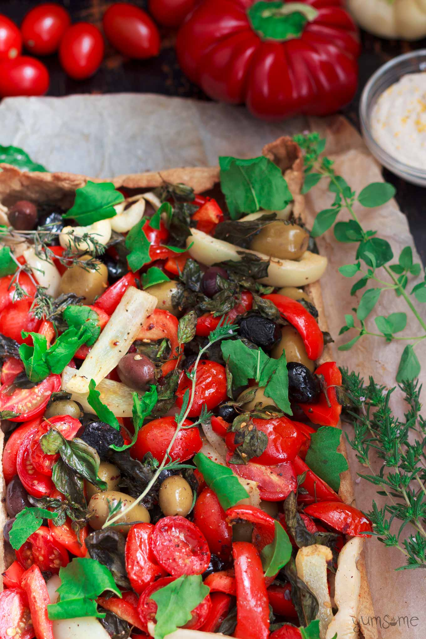 cropped overhead shot of Mediterranean Summer Vegetable Tart | yumsome.com