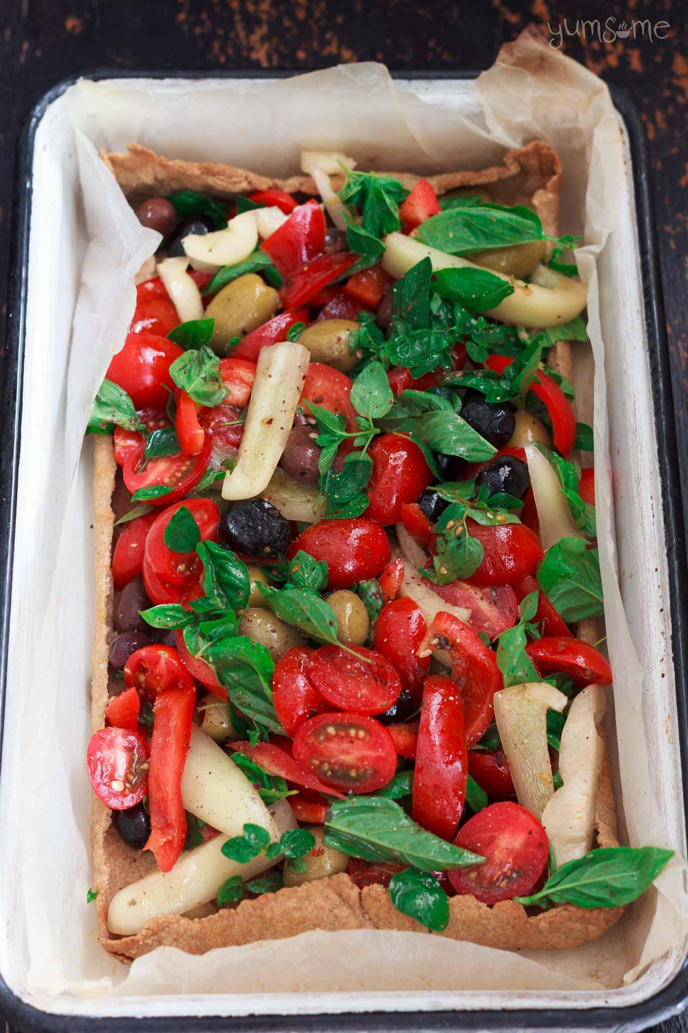 overhead view of uncooked Mediterranean Summer Vegetable Tart | yumsome.com