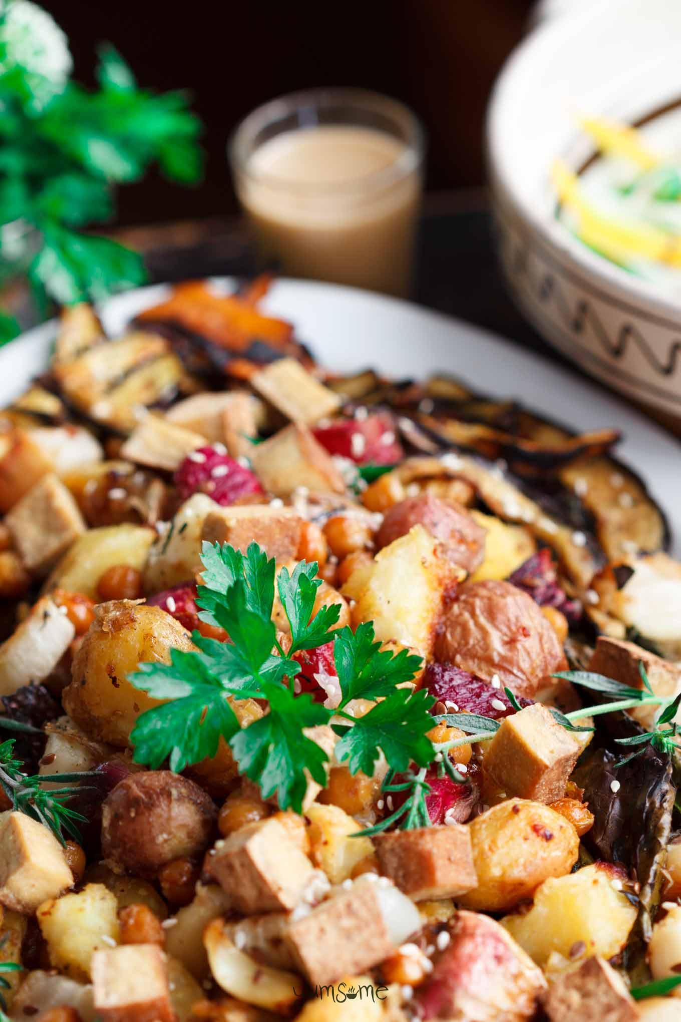 closeup shot of Power-Packed Roast Potato, Quinoa, and Garden Veggie Salad | yumsome.com
