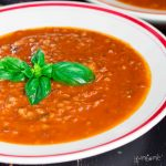 social media image - spicy tomato, basil, and buckwheat soup | yumsome.com