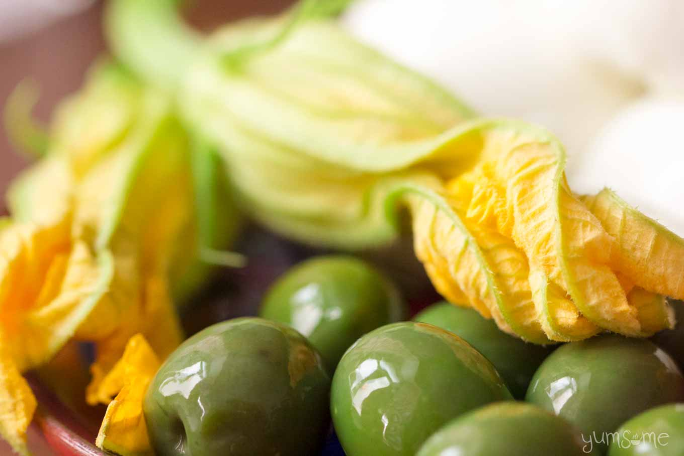 zucchini blossoms and green olives | yumsome.com