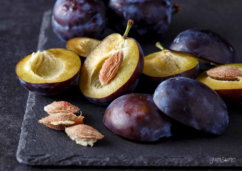 fresh plums on a slate | yumsome.com