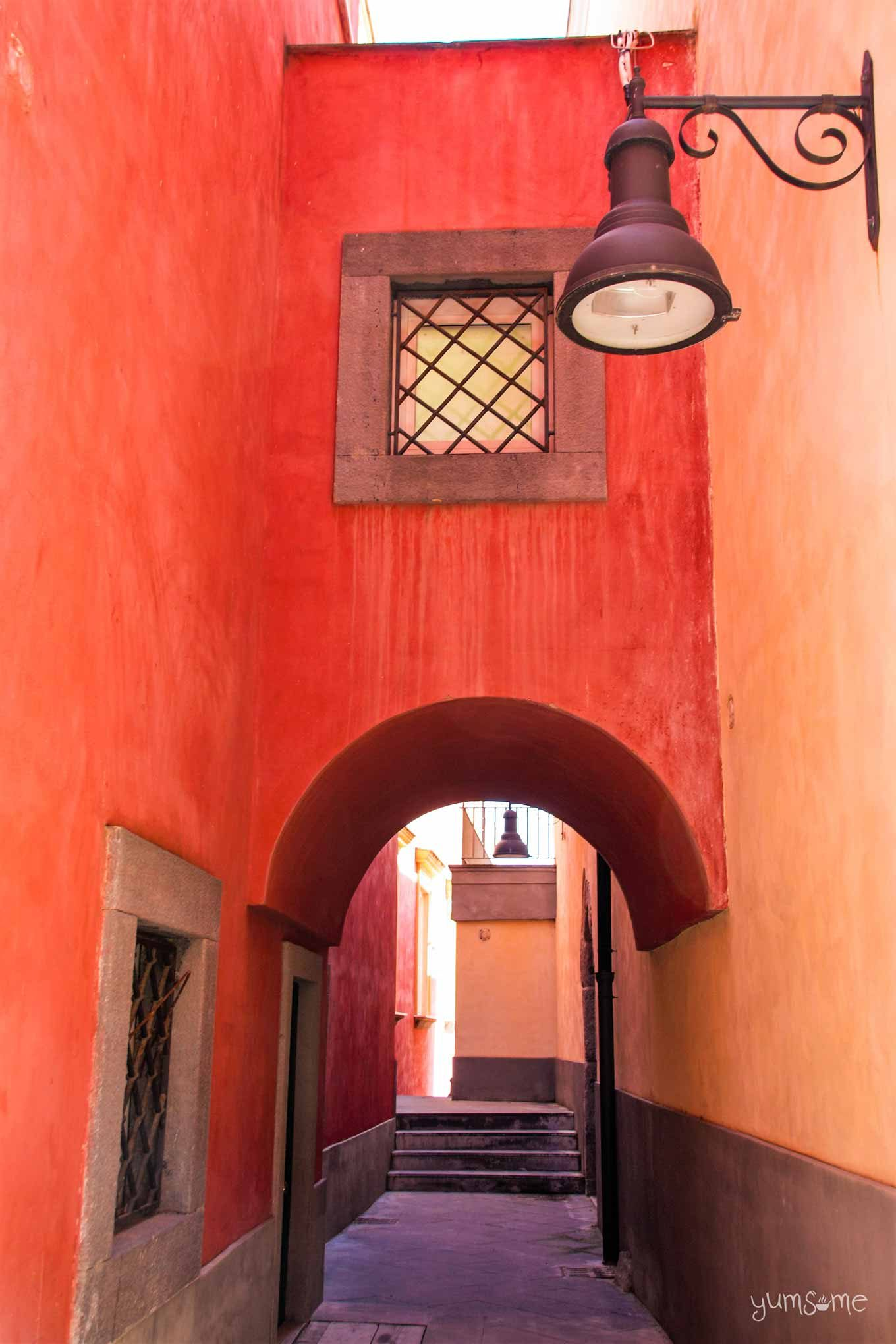 Red alley in Pozzuoli.