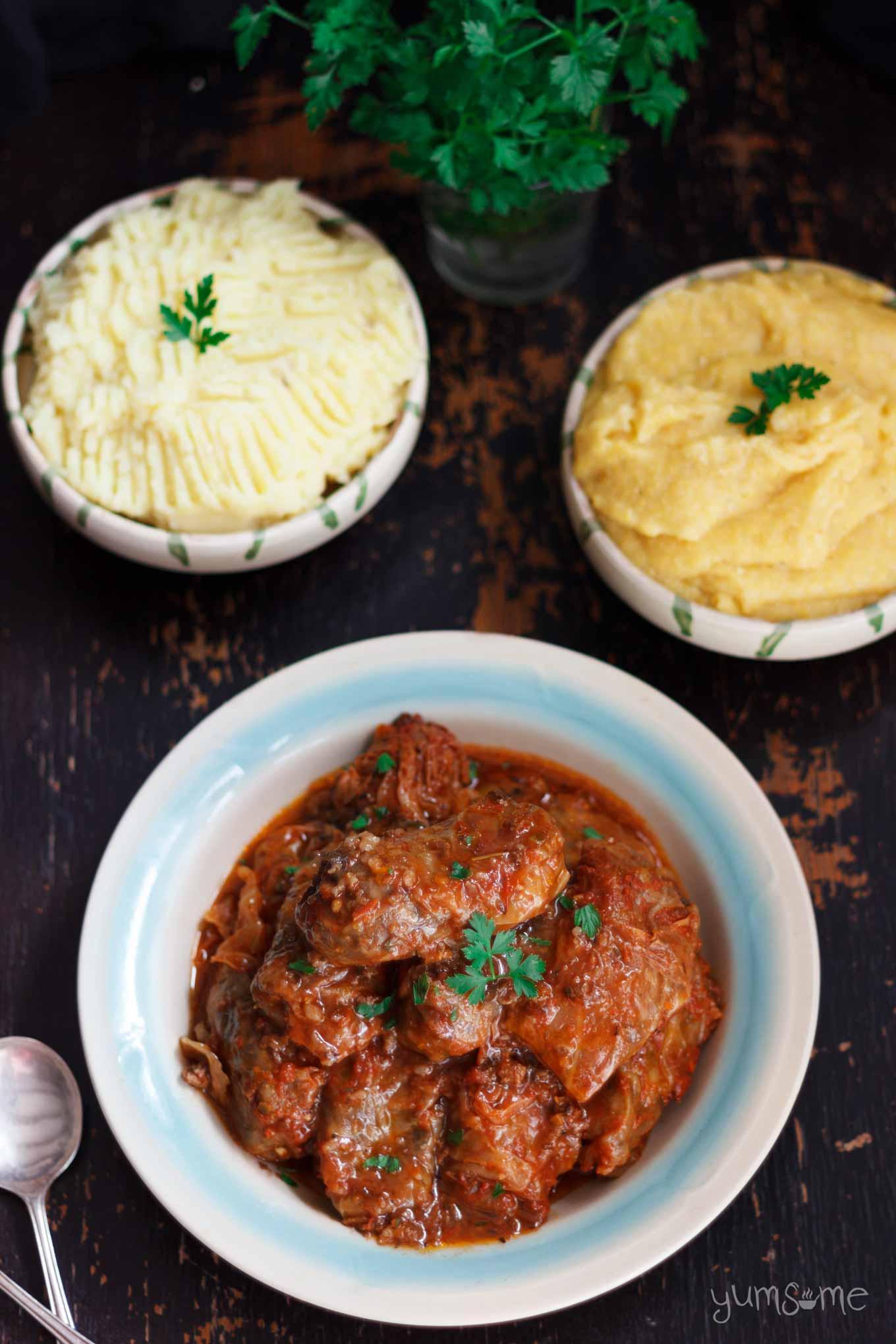 mashed potatoes, mamliga, and sarmale | yumsome.com