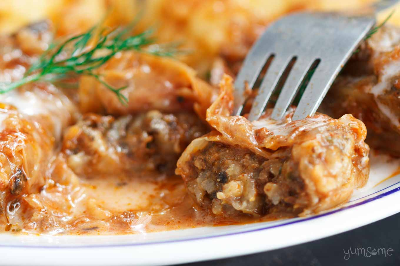 cut open cabbage rolls | yumsome.com