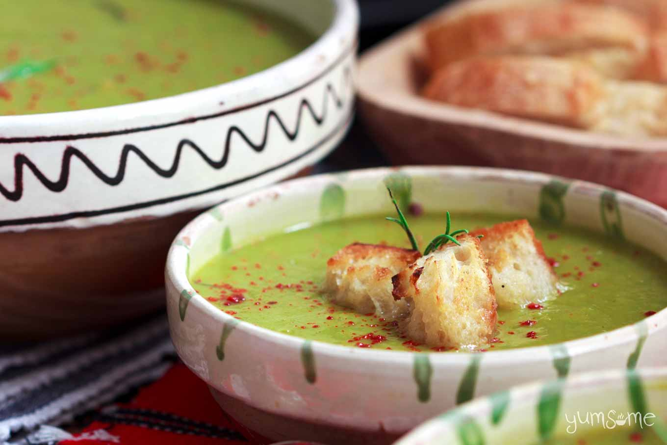 croutons in a bowl of Quick 'n' Easy Piquant Pea & Leek Soup   yumsome.com