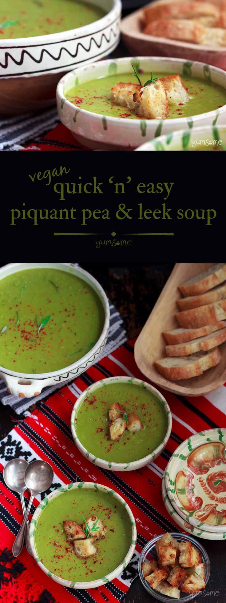 Quick \'n\' Easy Vegan Piquant Pea & Leek Soup