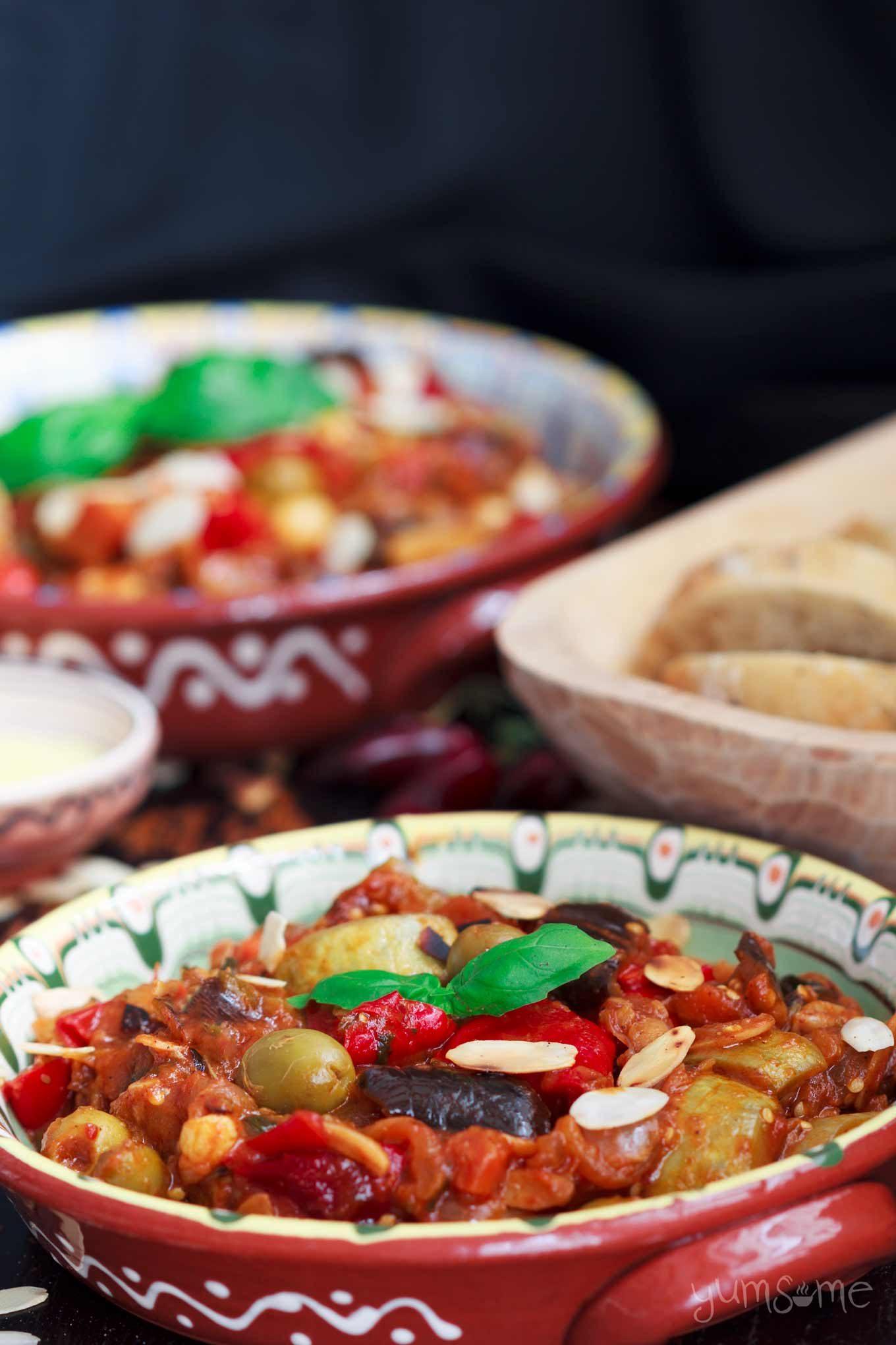 Closeup shot of a dish of sicilian caponata.