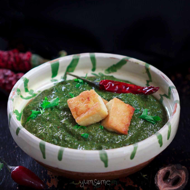 a bowl of vegan palak paneer | yumsome.com