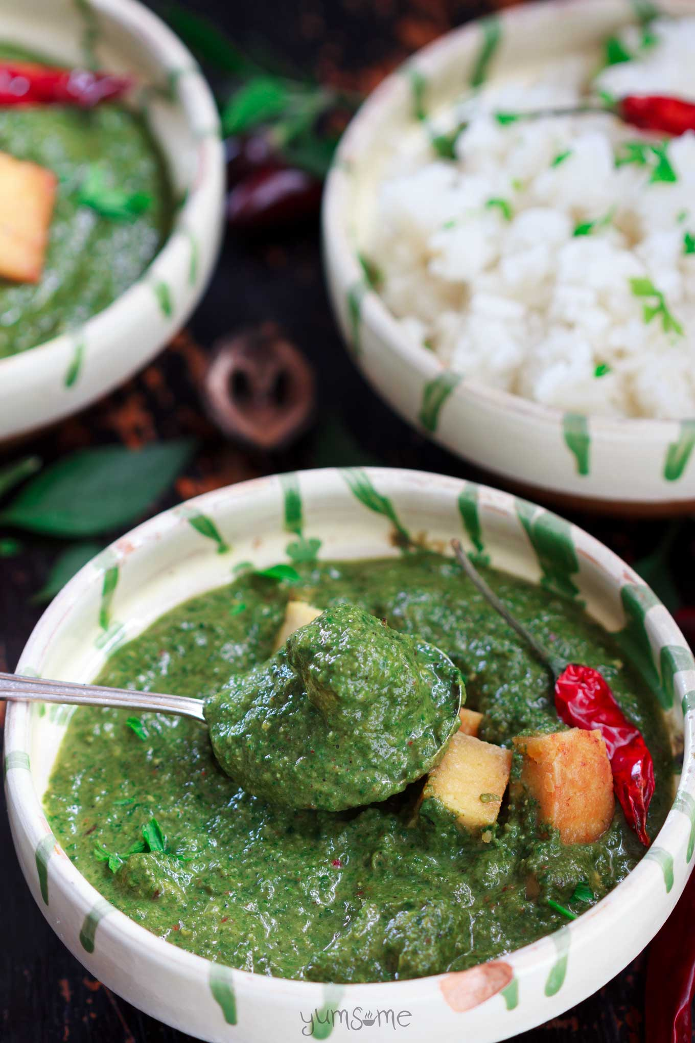 a spoonful of vegan palak paneer | yumsome.com