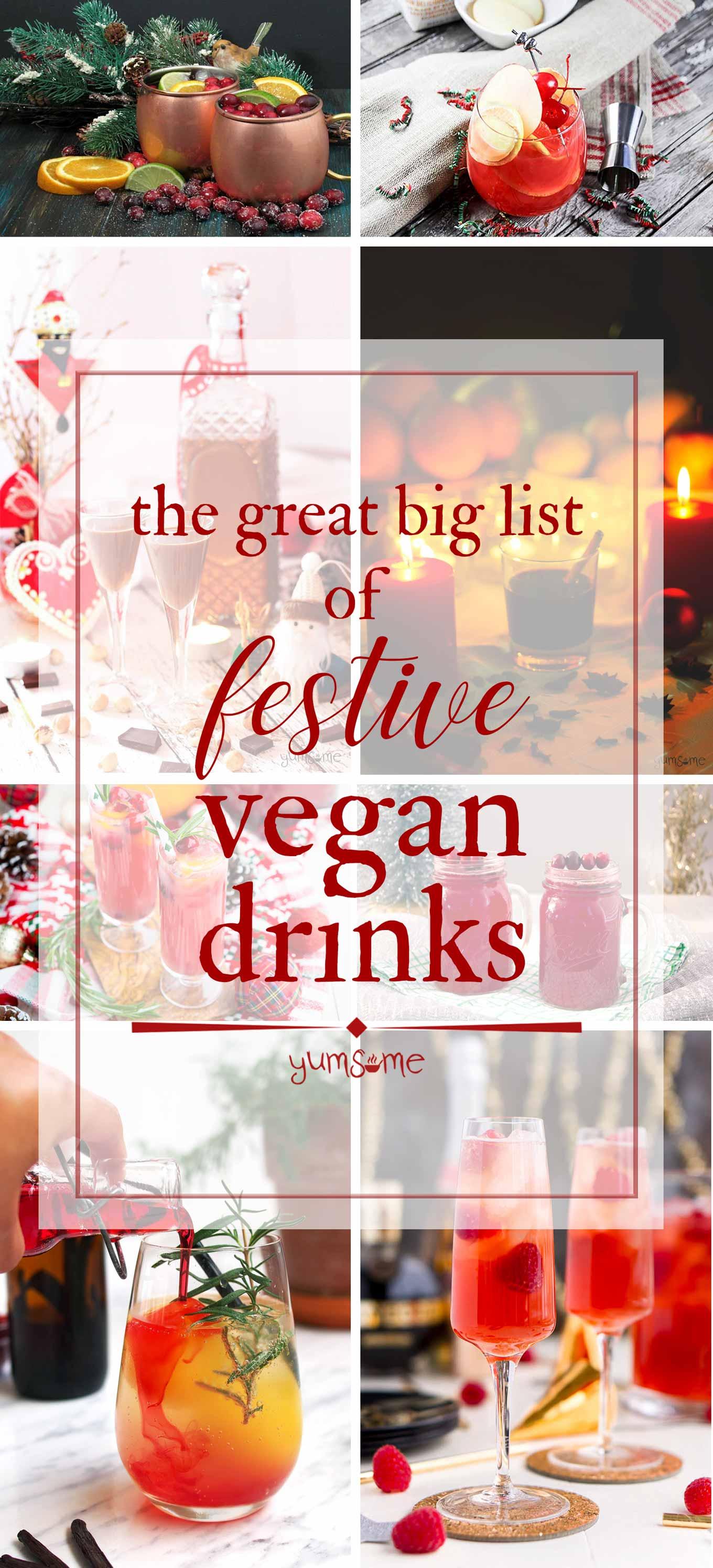hero collage: festive vegan drinks