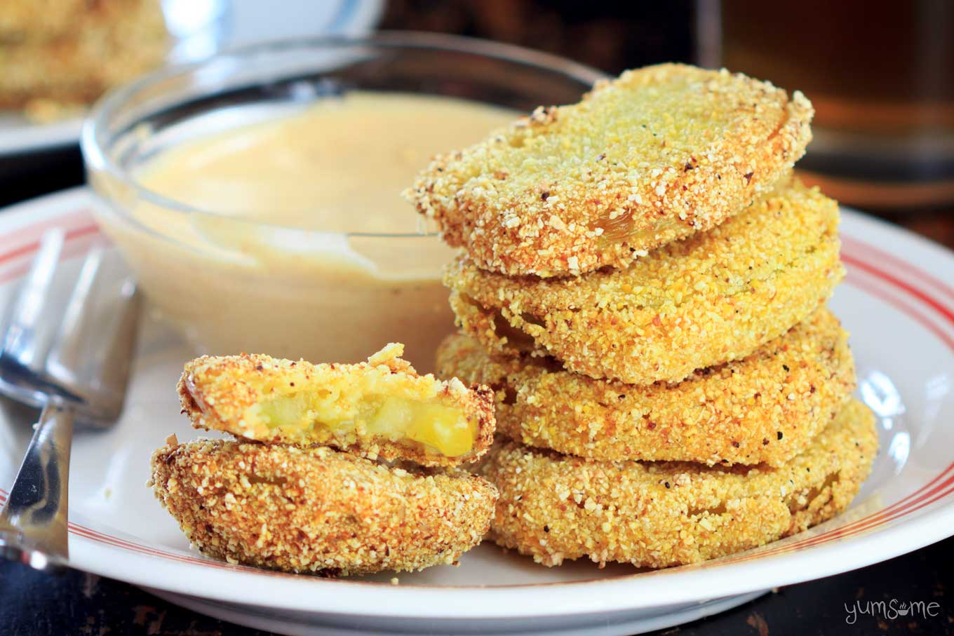 Fried green tomatoes and remoulade sauce.