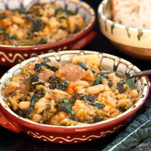Closeup of a dish of ribollita (Tuscan bread soup).
